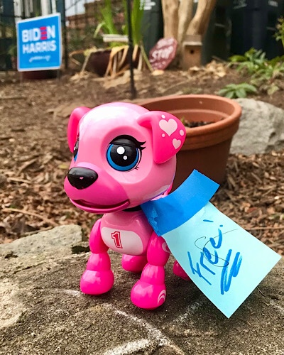 "Image of pink superhero puppy with the number one on it's chest and a sign that says ""free."""