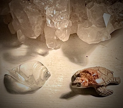 Photo of a crystal conch shell and a turtle carved from a fire opal