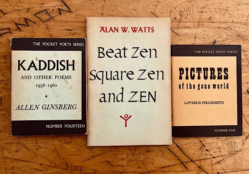 Image of Allen Ginsberg's Kaddish, Alan Watts' Square Zen Beat Zen Zen and Lawrence Ferlinghetti's Pictures of the Gone World