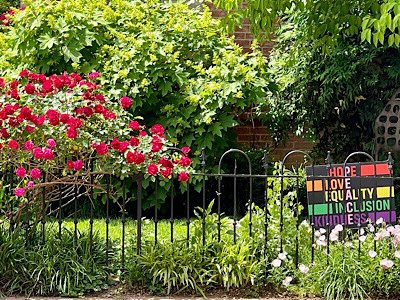 """Image of red rose bush in full bloom with sign that reads, """"hope, hope ,love, equality , inclusion, kindness"""