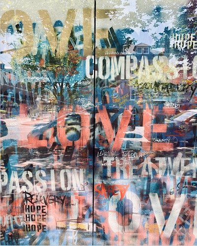 Collage of words behind window reflections —hope , love, recovery , compassion