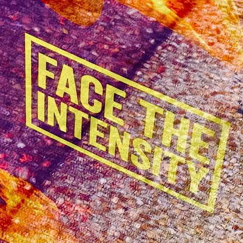 """Photo of sign in window that reads """"face the intensity"""""""